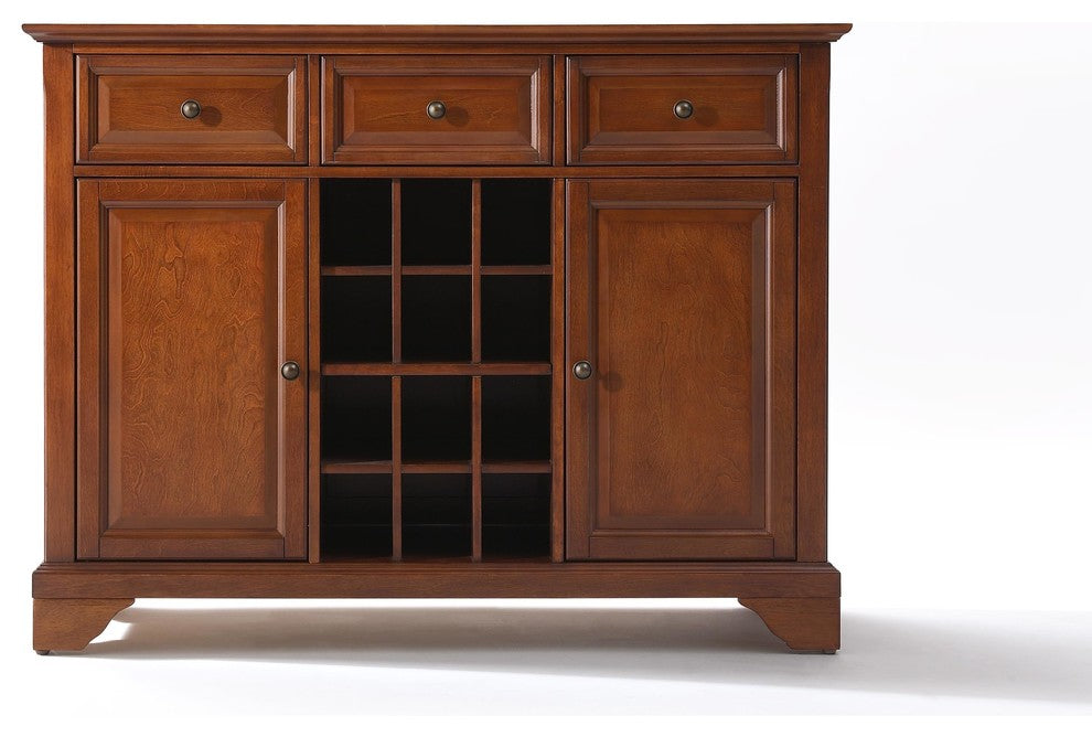 LaFayette Buffet Server-Sideboard Cabinet With Wine Storage, Cherry - Pot Racks Plus