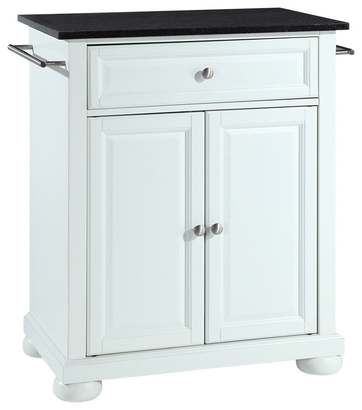 Alexandria Solid Black Granite Top Portable Kitchen Island, White Finish - Pot Racks Plus