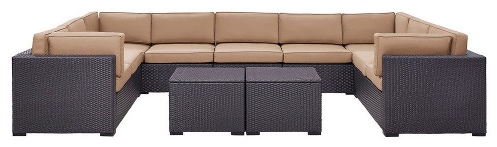 Biscayne 9 Person Wicker 4 Loveseats, 1 Armless Chair, 2 Coffee Tables, Mocha - Pot Racks Plus