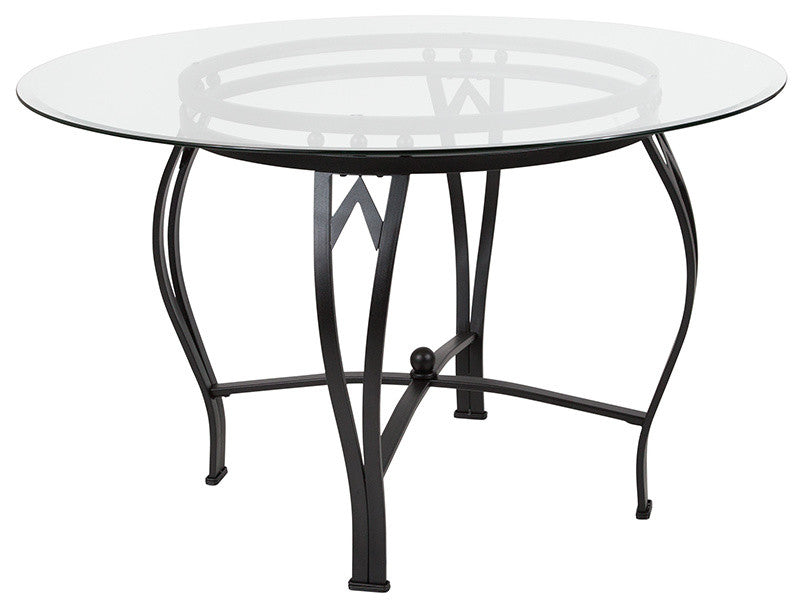 Flash Furniture Syracuse 48'' Round Glass Dining Table with Black Metal Frame - Pot Racks Plus