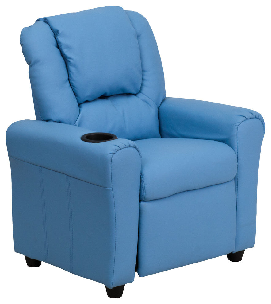 Flash Furniture   Contemporary Light Blue Vinyl Kids Recliner with Cup Holder and Headrest - Pot Racks Plus