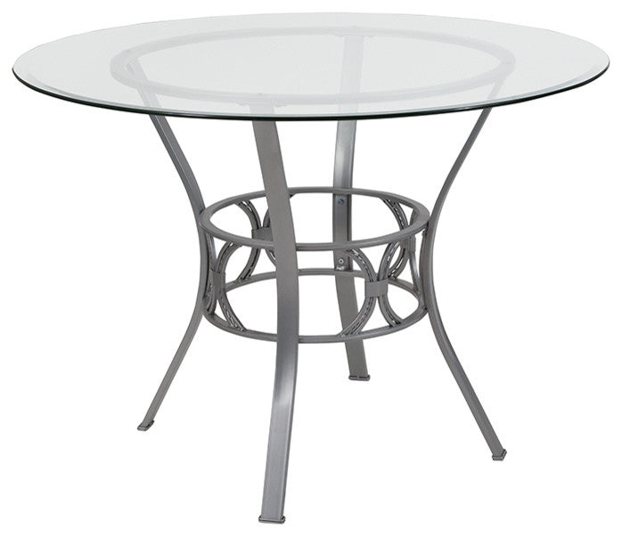 Flash Furniture Carlisle 42'' Round Glass Dining Table with Silver Metal Frame - Pot Racks Plus