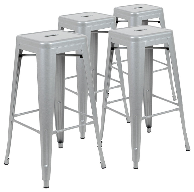 "Flash Furniture  30"" High Metal Indoor Bar Stool in Silver - Stackable Set of 4 - Pot Racks Plus"