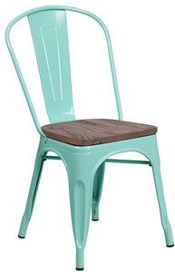 Mint Green Metal Stackable Chair with Wood Seat