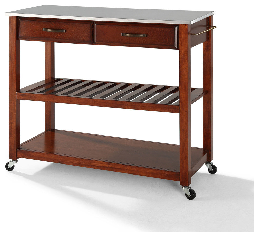 Stainless Steel Top Kitchen Cart, Island With Optional Stool Storage, Cherry - Pot Racks Plus