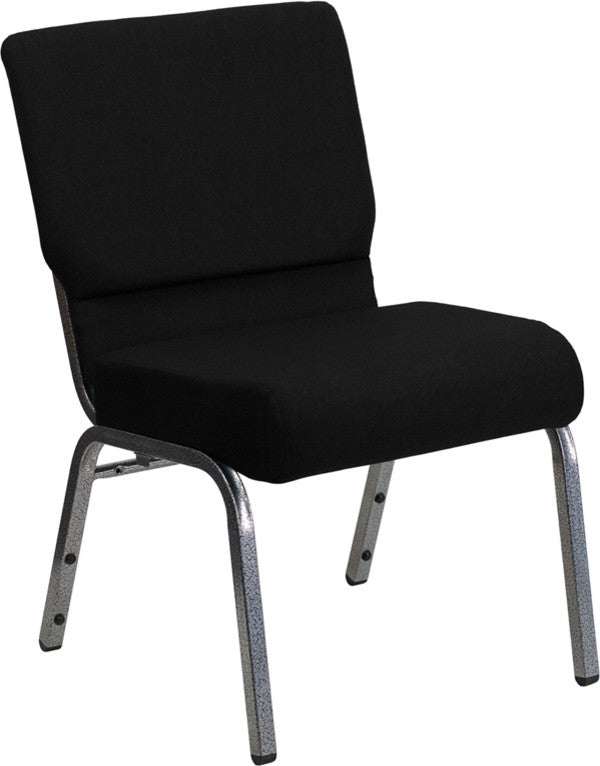 HERCULES Series 21''W Stacking Church Chair in Black Fabric - Silver Vein Frame