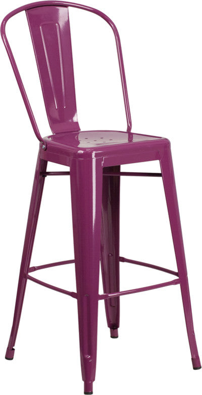 "Commercial Grade 30"" High Purple Metal Indoor-Outdoor Barstool with Back"