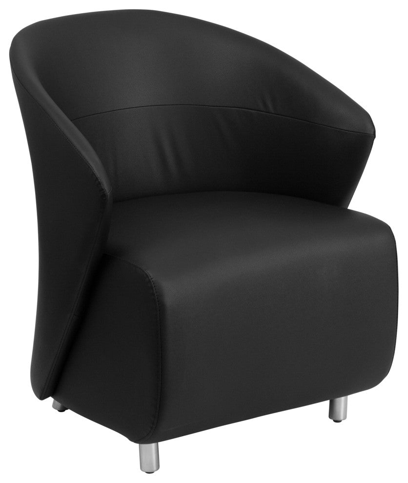 Flash Furniture   Black LeatherSoft Curved Barrel Back Lounge Chair - Pot Racks Plus