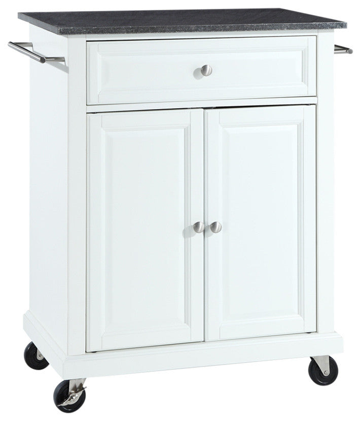 Solid Black Granite Top Portable Kitchen Cart, Island, White Finish - Pot Racks Plus