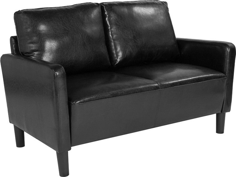 Washington Park Upholstered Loveseat in Black LeatherSoft