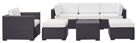 Biscayne Wicker 1 Loveseat, 3 Chairs, 1 Coffee Table, 2 Ottomans, White - Pot Racks Plus
