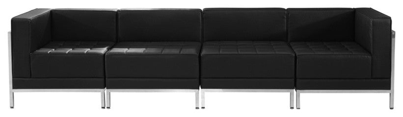 HERCULES Imagination Series Black LeatherSoft 4 Piece Lounge Set