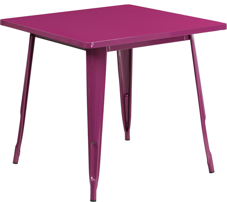 "Commercial Grade 31.5"" Square Purple Metal Indoor-Outdoor Table"