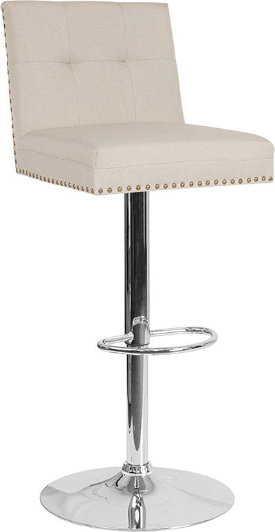 Ravello Contemporary Adjustable Height Barstool with Accent Nail Trim in Beige Fabric