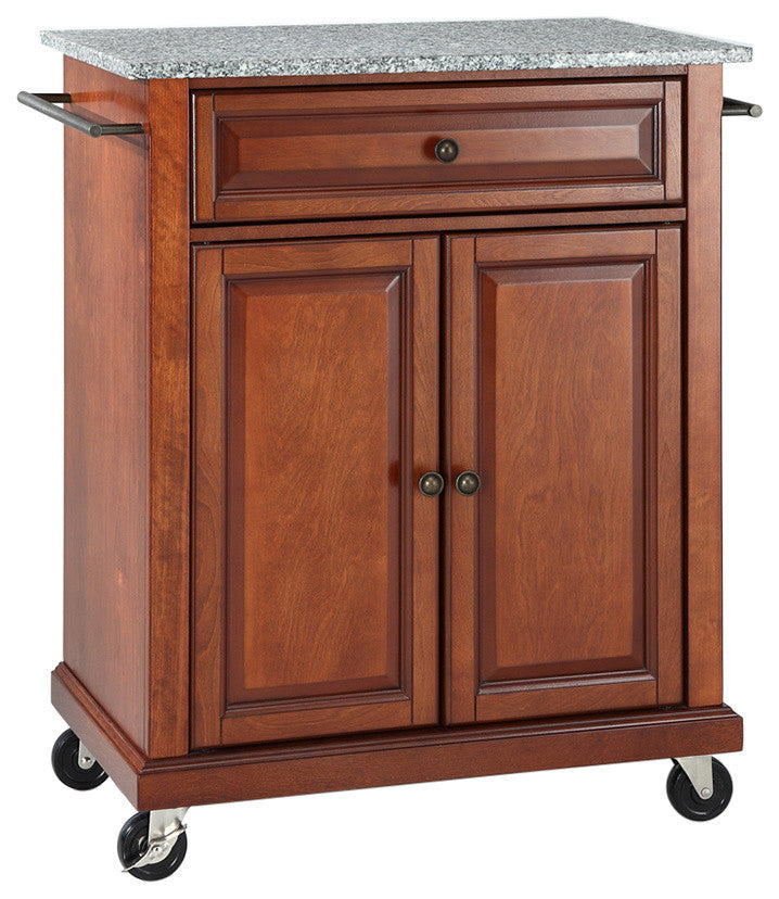 Solid Granite Top Portable Kitchen Cart, Island, Classic Cherry Finish - Pot Racks Plus
