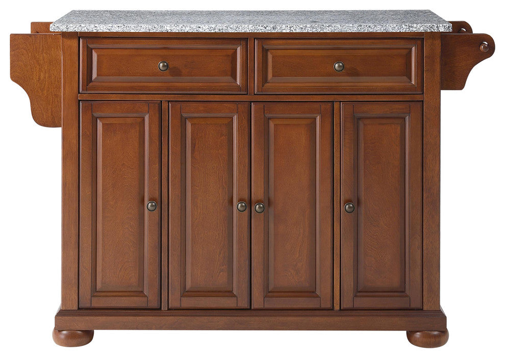 Alexandria Solid Granite Top Kitchen Island, Classic Cherry Finish - Pot Racks Plus