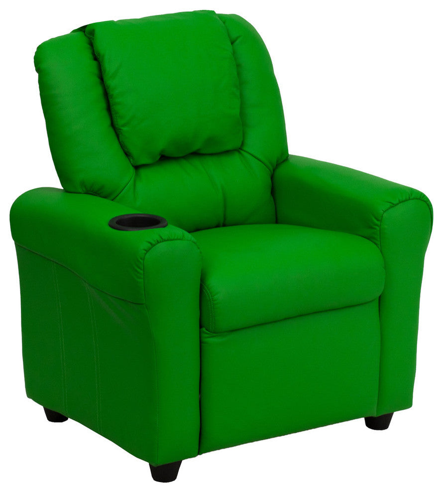 Flash Furniture   Contemporary Green Vinyl Kids Recliner with Cup Holder and Headrest - Pot Racks Plus