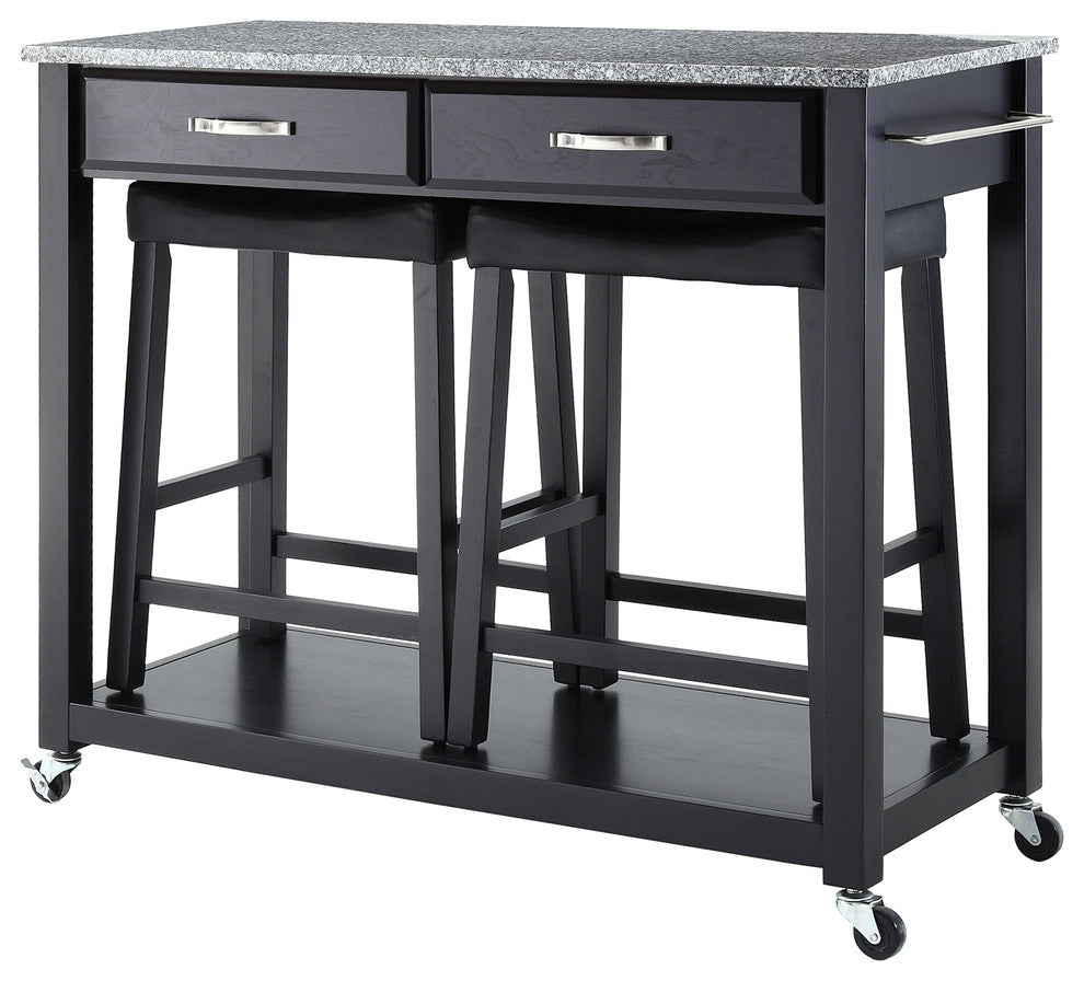 "Solid Granite Top Kitchen Cart, Island, Black Finish W, 24""Saddle Stools - Pot Racks Plus"