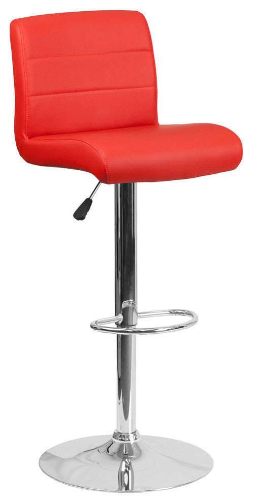 Contemporary Red Vinyl Adjustable Height Barstool with Rolled Seat and Chrome Base