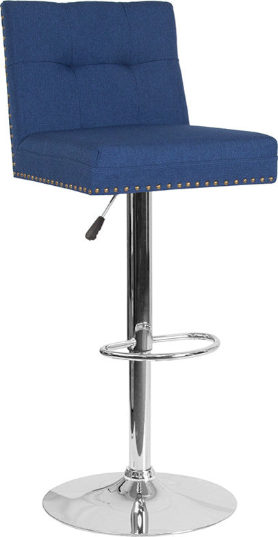 Ravello Contemporary Adjustable Height Barstool with Accent Nail Trim in Blue Fabric