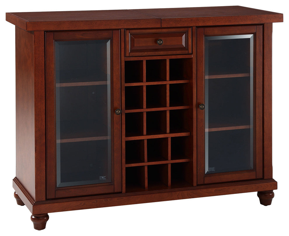 Cambridge Sliding Top Bar Cabinet, Vintage Mahogany Finish - Pot Racks Plus