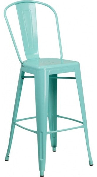 "Commercial Grade 30"" High Mint Green Metal Indoor-Outdoor Barstool with Back"
