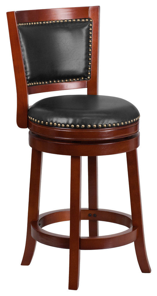 26'' High Dark Cherry Wood Counter Height Stool with Open Panel Back and Walnut LeatherSoft Swivel Seat