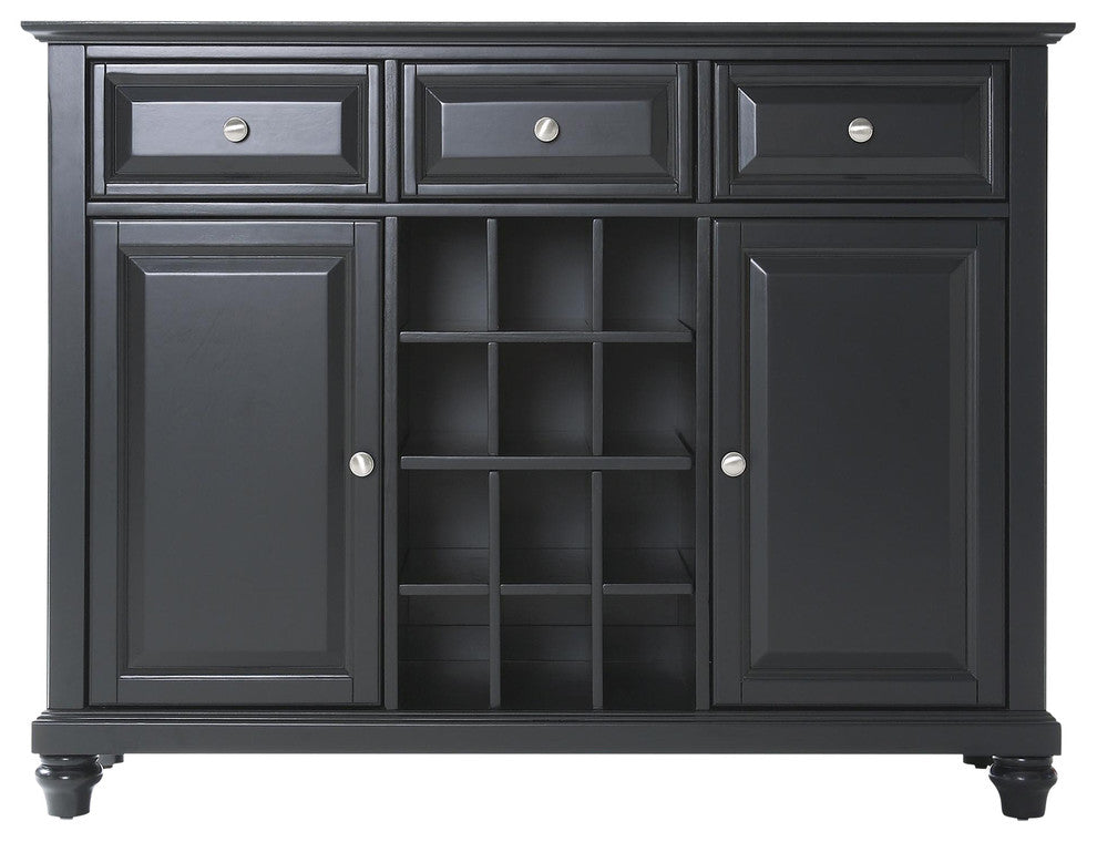 Cambridge Buffet Server-Sideboard Cabinet With Wine Storage, Black Finish - Pot Racks Plus