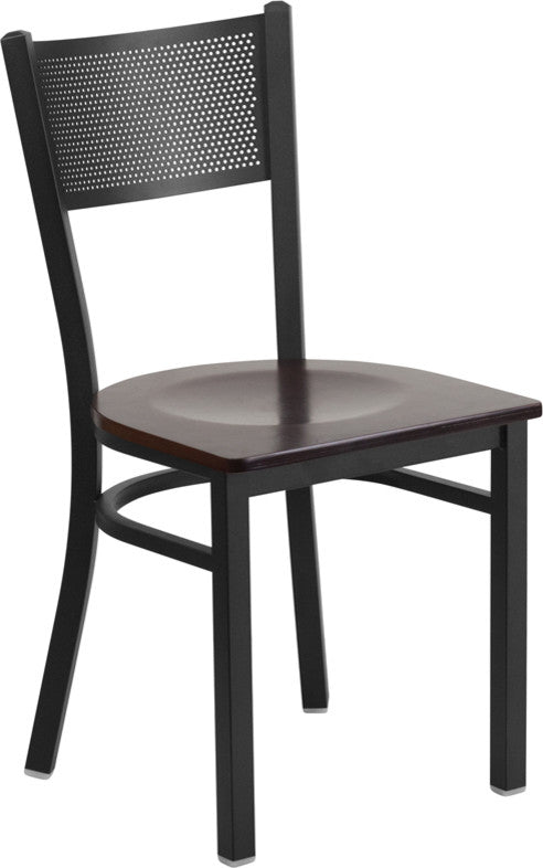 HERCULES Series Black Grid Back Metal Restaurant Chair - Walnut Wood Seat
