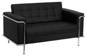 HERCULES Lesley Series Contemporary Black LeatherSoft Loveseat with Encasing Frame