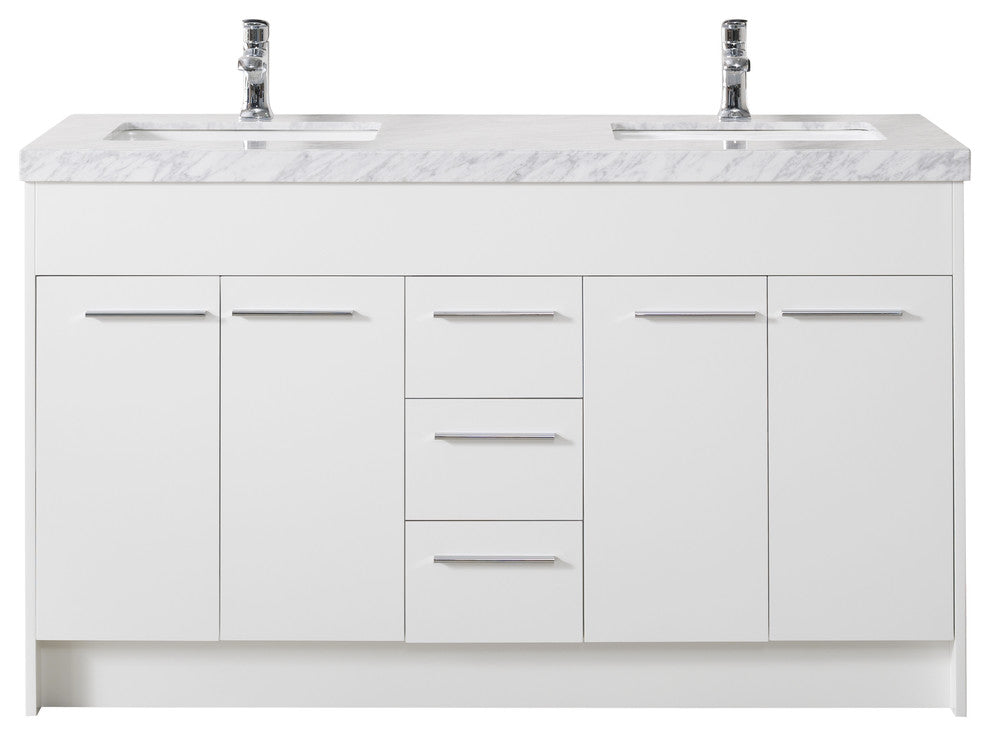 Lotus 60 Inch White Double Sink Bathroom Vanity W/Drains & Faucets-Matte Black - Pot Racks Plus