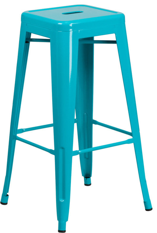 "Commercial Grade 30"" High Backless Crystal Teal-Blue Indoor-Outdoor Barstool"