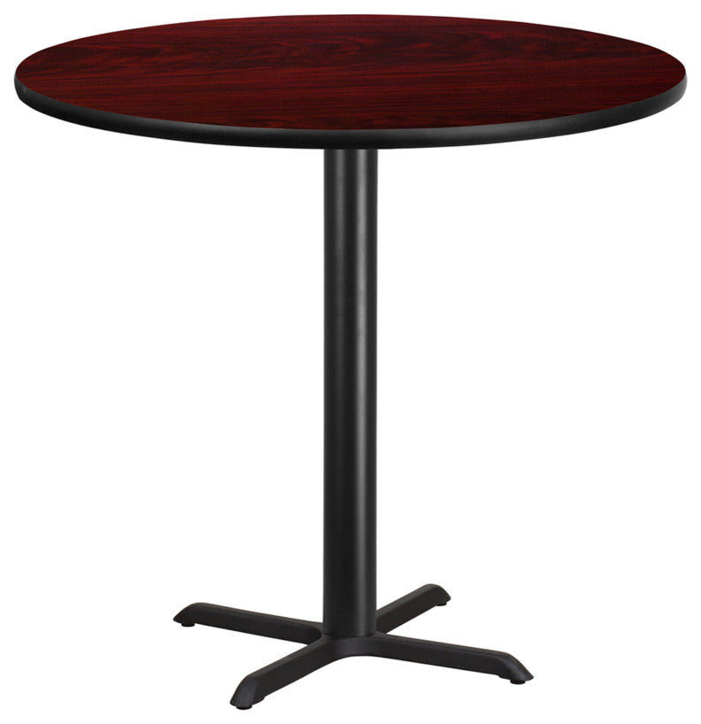 42'' Round Mahogany Laminate Table Top with 33'' x 33'' Bar Height Table Base