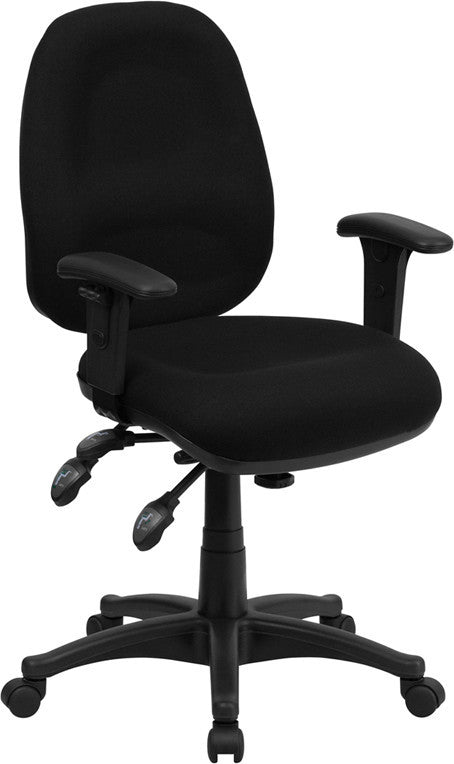Mid-Back Black Fabric Multifunction Executive Swivel Ergonomic Office Chair with Adjustable Arms