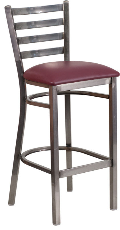 HERCULES Series Clear Coated Ladder Back Metal Restaurant Barstool - Burgundy Vinyl Seat