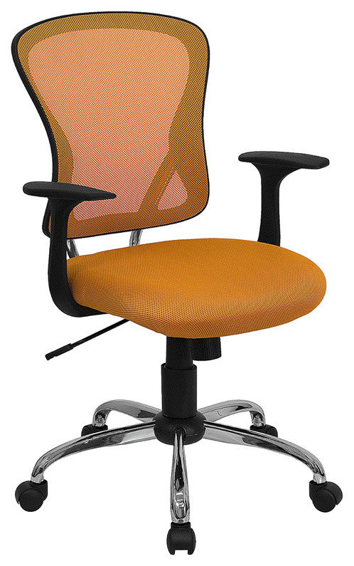Mid-Back Orange Mesh Swivel Task Office Chair with Chrome Base and Arms