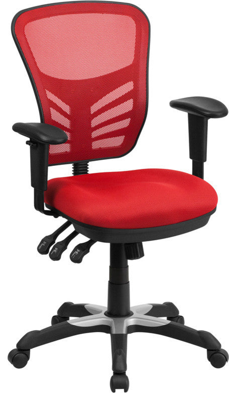 Mid-Back Red Mesh Multifunction Executive Swivel Ergonomic Office Chair with Adjustable Arms