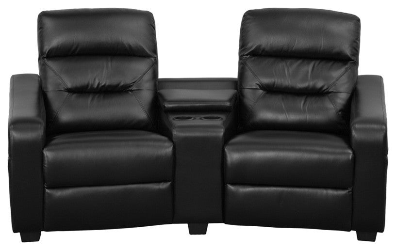 Flash Furniture   Futura Series 2-Seat Reclining Black LeatherSoft Theater Seating Unit with Cup Holders - Pot Racks Plus