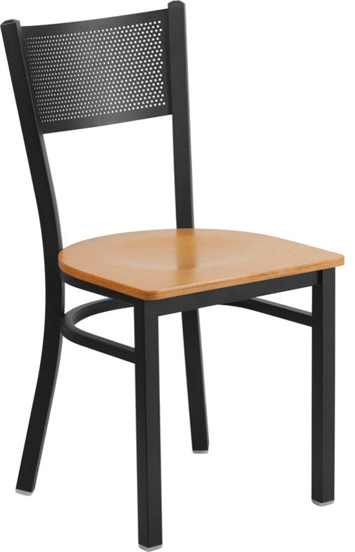 HERCULES Series Black Grid Back Metal Restaurant Chair - Natural Wood Seat
