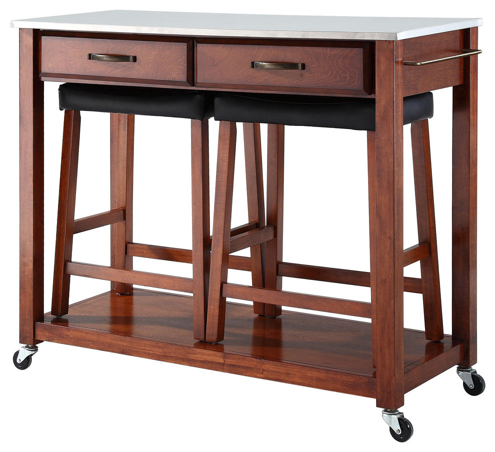"Stainless Steel Top Kitchen Cart/Island, Classic Cherry Finish With 24"" Cherry - Pot Racks Plus"