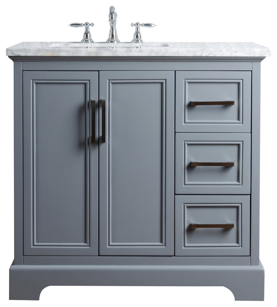 "Ariane 36"" Slate Gray Single Vanity Cabinet Single Bathroom Sink - Pot Racks Plus"