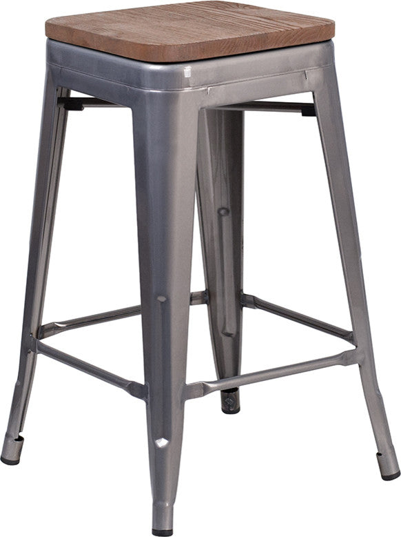 "24"" High Backless Clear Coated Metal Counter Height Stool with Square Wood Seat"
