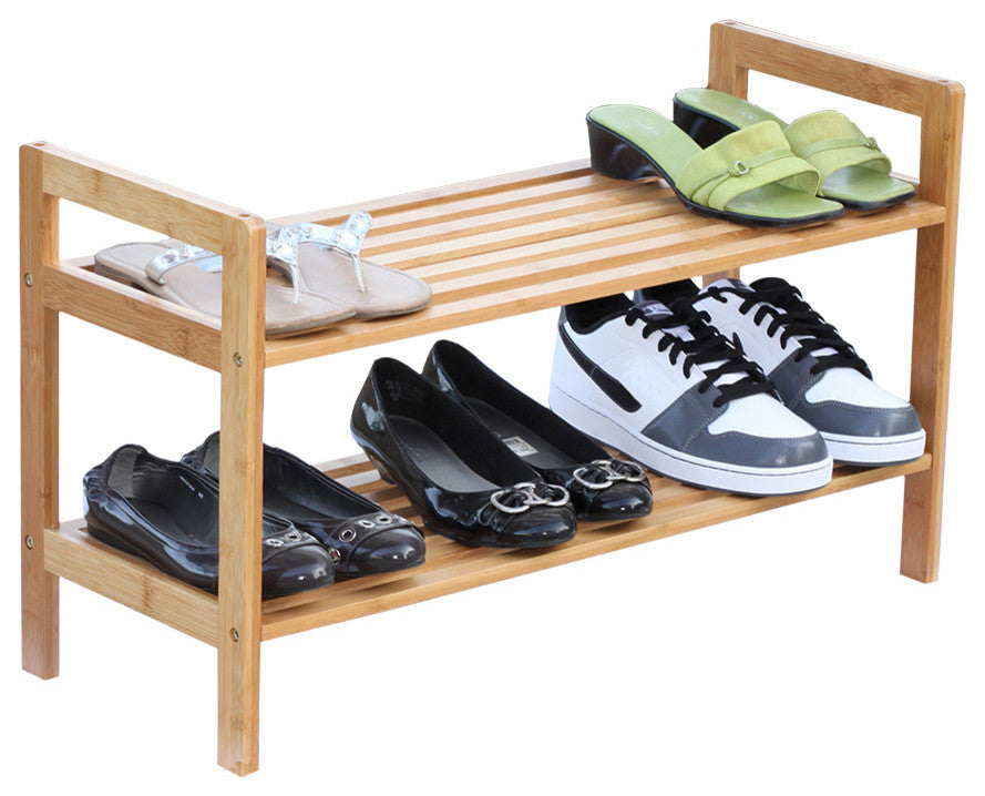 2 Tier Bamboo Shoe Rack - Pot Racks Plus