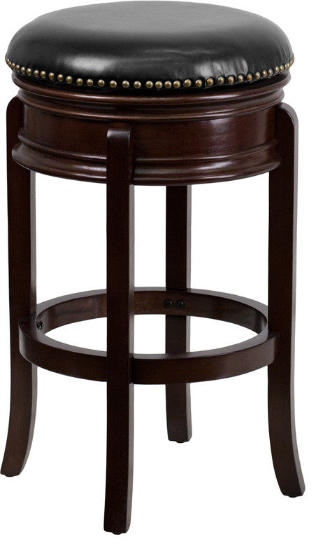 29'' High Backless Cappuccino Wood Barstool with Carved Apron and Black LeatherSoft Swivel Seat