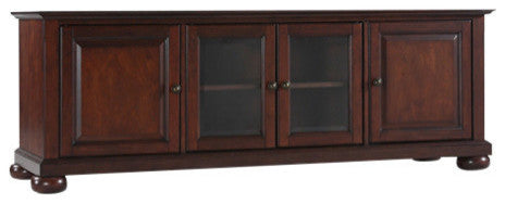 "Alexandria 60"" Low Profile TV Stand, Vintage Mahogany Finish - Pot Racks Plus"