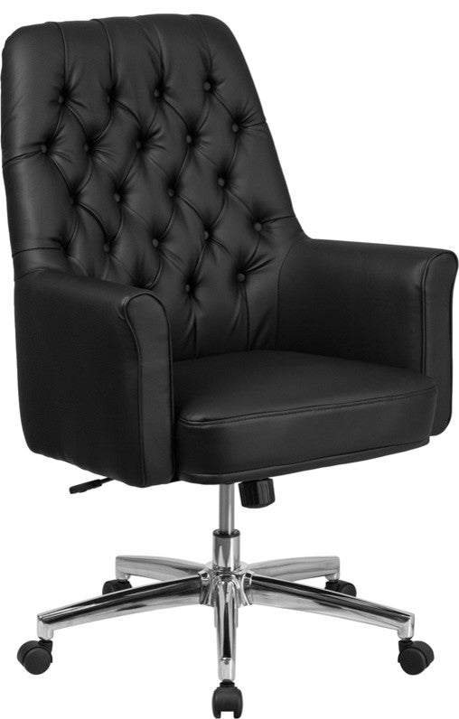 Mid-Back Traditional Tufted Black LeatherSoft Executive Swivel Office Chair with Arms