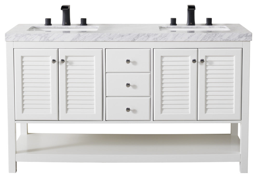 Luthor 60 Inch White Double Sink Bathroom Vanity - Pot Racks Plus