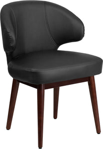 Comfort Back Series Black LeatherSoft Side Reception Chair with Walnut Legs