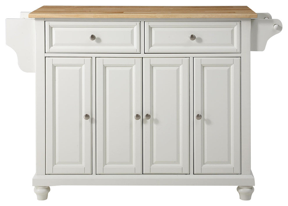 Cambridge Natural Wood Top Kitchen Island, White Finish - Pot Racks Plus