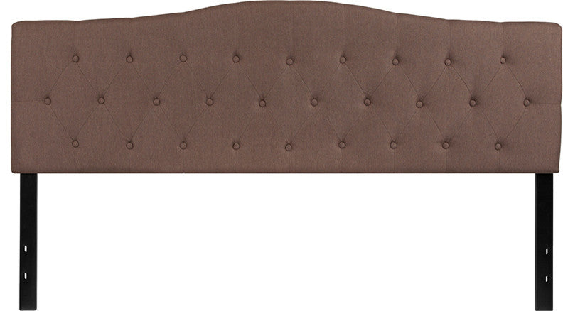 Cambridge Tufted Upholstered King Size Headboard in Camel Fabric